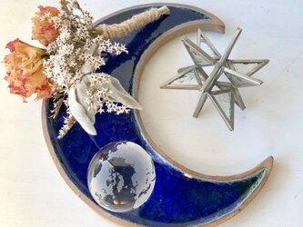 天融地★「ロイヤルブルー月のプレート」陶芸作品 器 1点物 コースター ディスプレイにの画像