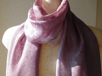 「色の変化するストール麴塵染め」本紗織シルク100%小花柄 の画像