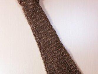 手織りネクタイNEC105A メンズ 茶系 シルクツイード プレゼントの画像