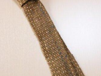 手織りネクタイNEC106A  シルクウール メンズ 茶系 プレゼントの画像
