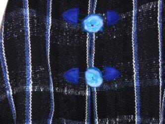 手織り 冬物ポンチョ ウール PON101 ラメ入り 紺色 防寒 温かの画像