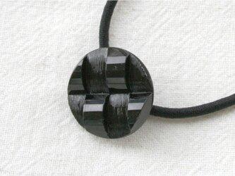 フランスアンティークボタンへアゴム/フレンチジェット・凹凸模様(AFB-086)の画像