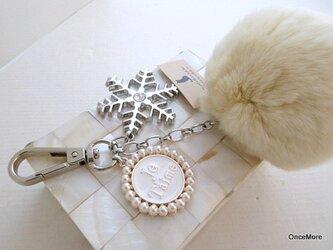 大きなラビットファーのバッグチャーム(Je T'aime)雪の結晶の画像
