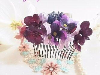 **irodoru**スミレ色の想い出**ビオラとスミレ色のリボンのお花飾り**の画像