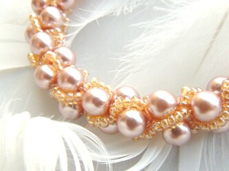 金木犀の香り: : : ビーズクロッシェブレスレット : : : ピンク×オレンジの画像