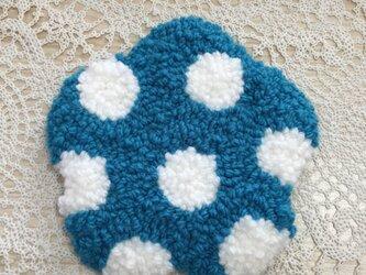 洗える!花型コースター(青ドット)の画像