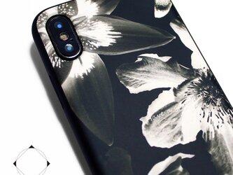 iphoneXSMAXケース / iphoneXSMAXカバー レザーケースカバー(花柄×ブラック)ブラックフラワーの画像