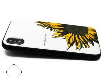 iphoneXSMAXケース / iphoneXSMAXカバー レザーケースカバー(オフホワイト)ひまわり 向日葵 XsMAXの画像