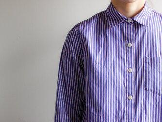 ストライプシャツ/blue×white×redの画像