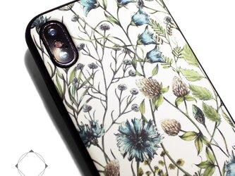 iphoneXSMAXケース/iphoneXSMAXカバー レザーケース(花柄×ブラック)ワイルドフラワー ボタニカルの画像