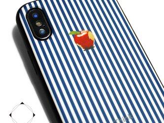 iphoneXSMAXケース / iphoneXSMAXカバー レザーケースカバー(ロンドンストライプ)赤リンゴ XsMAXの画像