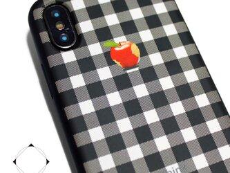 iphoneXSMAXケース / iphoneXSMAXカバー レザーケースカバー(シェパードチェック)赤リンゴ XsMAXの画像