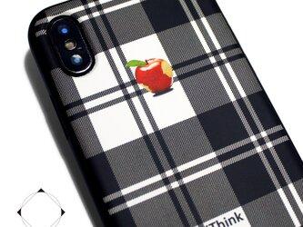 iphoneXSMAXケース / iphoneXSMAXカバー レザーケースカバー(タータンチェック)赤リンゴ XsMAXの画像