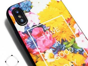 iphoneXsMAXケース / iphoneXsMAXカバー レザーケースカバー(花柄×ブラック)フラワーアート XsMAXの画像