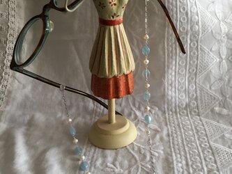 メガネチェーン アクアマリンと淡水真珠の画像