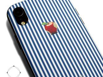 iphoneXRケース / iphoneXRカバー レザーケースカバー(ロンドンストライプ)赤リンゴ / XRの画像