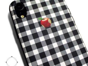 iphoneXRケース / iphoneXRカバー レザーケースカバー(シェパードチェック)赤リンゴ / XRの画像