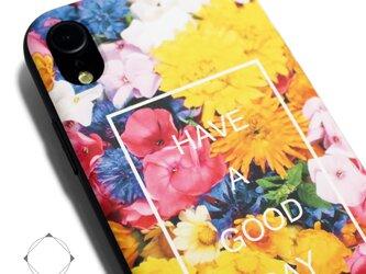 iphoneXRケース / iphoneXRカバー レザーケースカバー(花柄×ブラック)フラワーアート / XRの画像