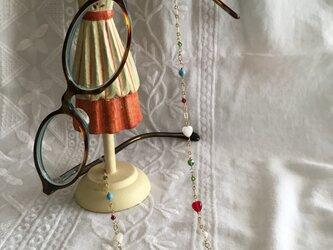 カラフルビーズのメガネチェーン(金鎖)の画像