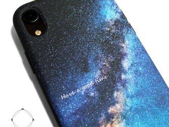 iphoneXRケース / iphoneXRカバー レザーケースカバー(天の川×ブラック)夜空 星柄 / XRの画像