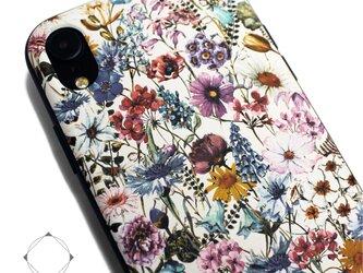 iphoneXRケース / iphoneXRカバー レザーケースカバー(花柄×ブラック)ワイルドフラワー / XRの画像