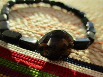 古い黒瑪瑙とビンテージ煙水晶のブレスレットの画像
