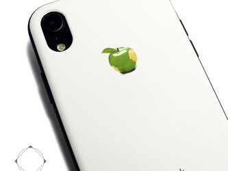 iphoneXRケース / iphoneXRカバー レザーケースカバー(オフホワイト)青リンゴ シンプル XRの画像
