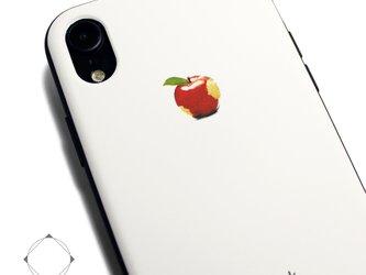 iphoneXRケース / iphoneXRカバー レザーケースカバー(オフホワイト)赤リンゴ XRの画像