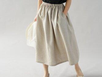 【wafu】中厚 リネン スカート ふんわり膝下丈 ウエスゴム ベルト紐付 ゆったり / 亜麻ナチュラル s004b-amn2の画像