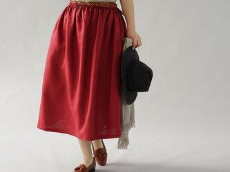 【wafu】中厚 リネン スカート ふんわり膝下丈 ウエスゴム ベルト紐付き ゆったり / ルビーレッド s004b-rre2の画像
