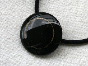 フランスアンティークボタンへアゴム/ジェット・ゴールドライン(AFB-088)の画像