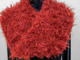 手編み:スヌード 赤モケモケの画像