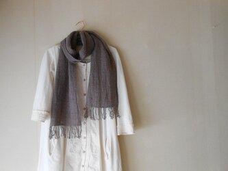 あったかマフラー 手紡ぎ手織り メリノーウール グレー×紫の画像