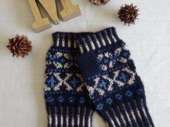 【手編み】フェアアイル模様の指出し手袋の画像