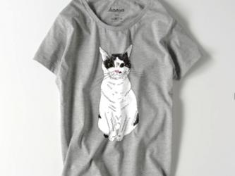 みーこ おすわり Tシャツ 猫 白黒猫 ねこ 保護ねこ メンズ レディースの画像