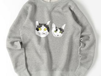 みーこてん トレーナー スウェット 白黒猫 猫 イラスト 保護猫 デザイナー デザインの画像