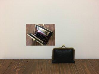上質牛革  仕切り miniがま口財布◆黒 お札2つ折りタイプの画像