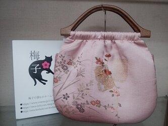 椿の素敵な刺繍のギャザーバッグの画像