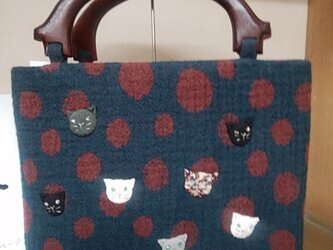 ウール地の猫7匹バッグ◆水玉模様の画像