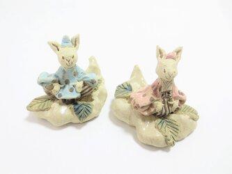 水玉うさぎ -くものり雛人形-の画像