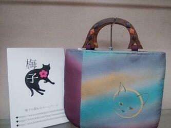 虹みたいな色合いの小さめバッグ◆手描き猫の画像