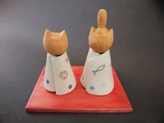 ネコ雛人形 小の画像