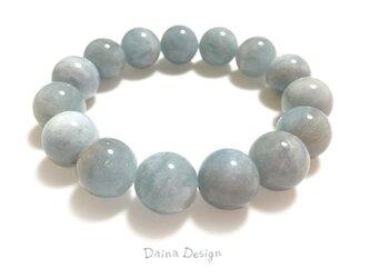 アクアマリン ブレスレット 3月誕生石 大粒 天然石 ☆ ダイナ デザイン ☆ 13ミリ ミルキー ブルーの画像