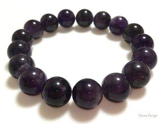 アメジスト ブレスレット 2月誕生石 深い 紫 レア 大粒 天然石 ☆ ダイナ デザイン ☆ 12ミリの画像