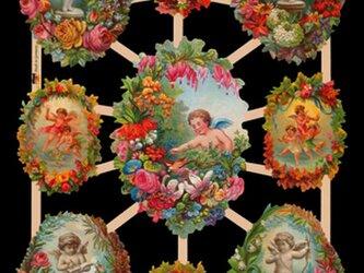 Germany クロモス2枚set 花フレームの天使たち&babyの画像