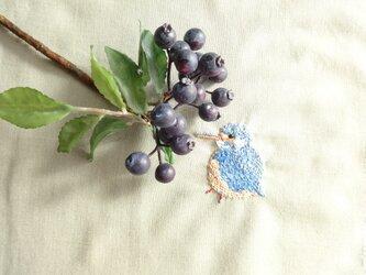 <展示品>野鳥カワセミ刺繍(翡翠)の画像