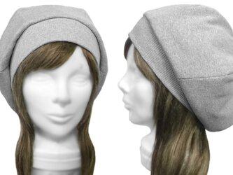 リブ織コットンニット/リブ付ベレー帽(ゆったり)◆杢ライトグレーの画像