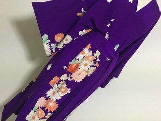 0124    着物リメイク    フリーサイズのローブ    錦紗    菊模様の画像