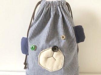 おとぼけクマの巾着袋【blue】の画像