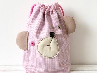 おとぼけクマの巾着袋☆pinkの画像